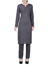 Grey Cotton Suit With Straight-fit Pants - By