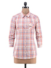 Orange Yarn Dyed Checks Printed Cotton Top - By