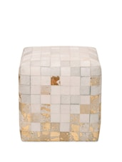 White And Gold Leather Pouffe - By