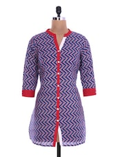 Red And Blue Cotton Printed Kurta - By