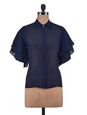 Navy Butterfly Sleeved Poly Georgette Shirt - By