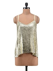 Gold Sequined Poly Georgette Flare Top - By
