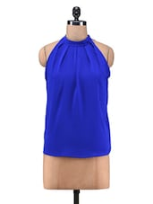 Royal Blue Polyester Mock Neck Top - By