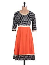 Black And Orange Printed Cotton Anarkali Kurti - By