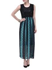 Green Net Fabric Party Wear Maxi Dress - By