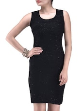Black Poly Viscose Net Sequined Party Wear Dress - By