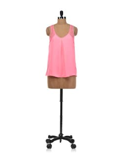 Neon Pink Lace Cut Out Back Top - Forever  New