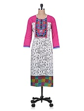 Multicolor Printed Embroidered Pin Tucked Jacquard Cotton Kurti - By