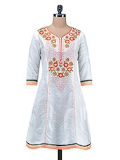 White Embroidered Jacquard Cotton Kurti - By