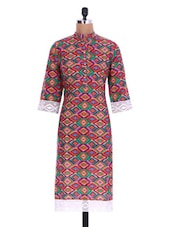 Multicolored Cotton Printed Kurta With Lace Trim - By