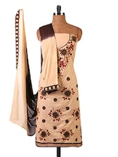 Beige Embroidered Pure Cambric Cotton Dress Material - By