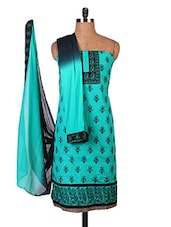 Green Embroidered Pure Cambric Cotton Dress Material - By
