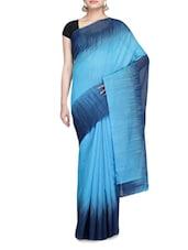 Sky Blue And Dark Blue Handloom Cotton Silk Saree - By