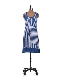 Blue And White Striped Dress - Allen Solly