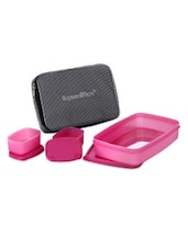Pink Plastic Compact Lunch Box  (with Bag) - By
