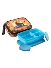 Blue Plastic Compact Lunch Box  (with Bag) - By