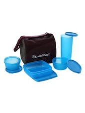 Blue Plastic Jumbo Lunch Box With Bag - By