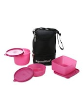 Pink Plastic Trio Lunch With Bag - By