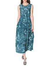Blue Printed Sleeveless Maxi Dress - LABEL Ritu Kumar