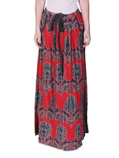 Red Printed Maxi Skirt - By