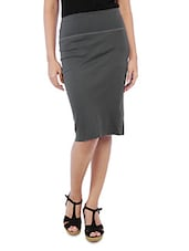 Solid Grey Cotton Spandex Pencil Skirt - By