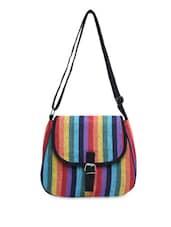 Multicolor Striped Canvas Cross Body Bag - By