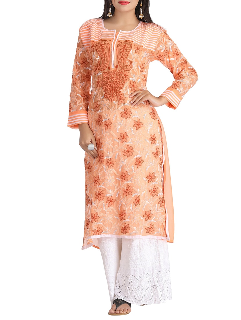 55e7412b3f Buy Peach Georgette Straight Kurta by Ada - Online shopping for Kurtas in  India | 12244405