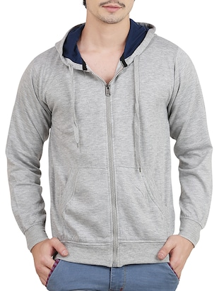 solid light grey cotton null sweatshirt -  online shopping for Sweatshirts