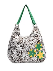 Brown And White Floral Print Hobo Bag - By