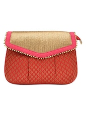 Red Sequined Sling Bag With Brocade Work - By