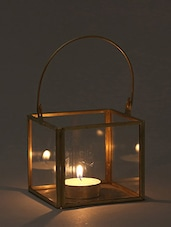 Brown Geo Iron And Glass Tea Light Holder - By