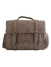 Dark Brown Textured Leatherette Laptop Bag - By