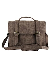 Brown Textured Leatherette Laptop Bag - By