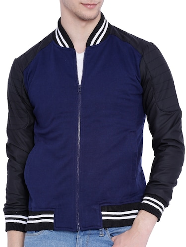 blue cotton bomber jacket - 12268738 - Standard Image - 1