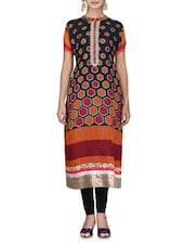Black Cotton Kurti With Printed Patchwork Beads Sequin - By