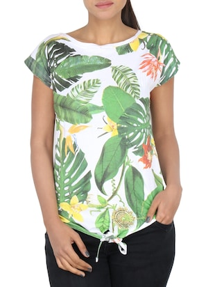 green tropical printed cotton regular top -  online shopping for Tops