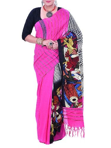 Pink Cotton Printed Saree with blouse - 12274853 - Standard Image - 1