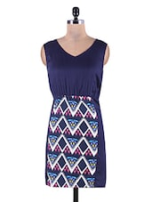 Dark Blue Rayon Dress With Geometric Printed Panel - By