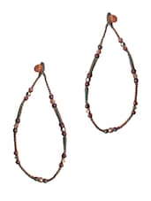 Brown Hand Worked Studded Yarn Metallic Anklet - By