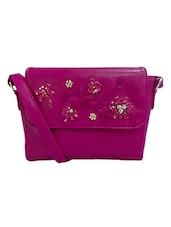 Pink Embellished Leatherette Sling Bag - By