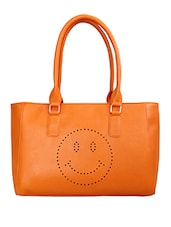 Yellow Smiley Printed Leatherette Shoulder Bag - By