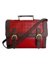 Red Floral Leatherette Sling Bag - By