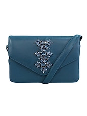 Blue Faux Leather Sling Bag - By