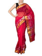 Pink Art Silk And Zari Saree - By
