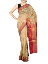 Beige Art Silk And Zari Saree - By