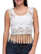 Solid White Lace Crop Top - By