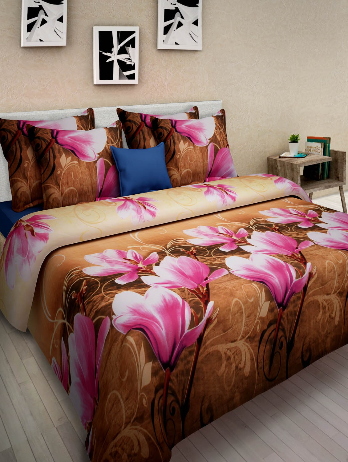 7319f2b128b Buy Multi-coloured Poly Cotton 3d Printed Double Bed Sheet Set by Homefab  India - Online shopping for Bed Sheet Sets in India