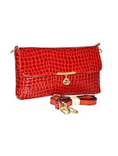 Red Leatherette Textured Clutch Cum Sling - By