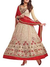 Red And Beige Georgette Unstitched Suit Set - By