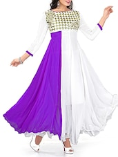 Purple And White Georgette Unstitched Suit Set - By
